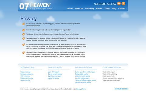 Screenshot of Privacy Page 07heaven.com - Privacy | 07heaven Derby - captured Nov. 6, 2017