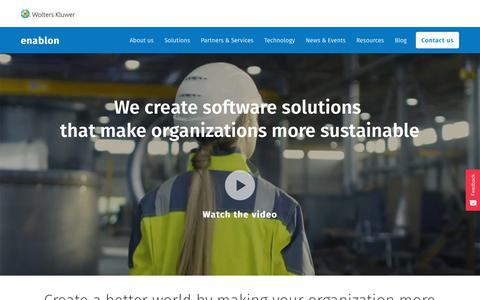 Screenshot of Home Page enablon.com - Enablon - Sustainability, EHS & Operational Risk Management Software - captured Aug. 19, 2019