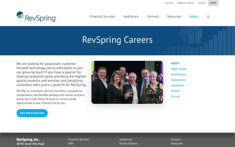 Screenshot of Jobs Page revspringinc.com - Careers | RevSpring - captured April 27, 2018
