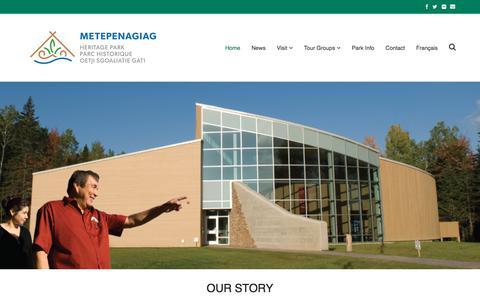 Screenshot of Home Page metpark.ca - Home - Metepenagiag Heritage Park - captured June 11, 2018