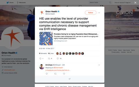 """Orion Health on Twitter: """"HIE use enables the level of provider communication necessary to support complex and chronic disease management via EHR Intelligence… https://t.co/crTrcX6irS"""""""