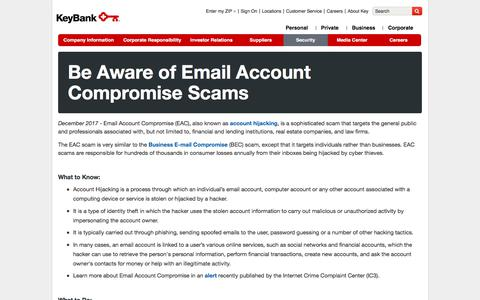 Be Aware of Email Account Compromise Scams