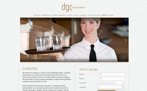 Screenshot of Jobs Page dgcentertainment.com - careers - captured Sept. 30, 2014