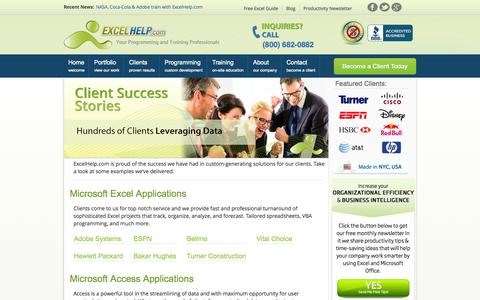 Screenshot of Case Studies Page excelhelp.com - Client Success Stories | Home Page | Excel Site | Excel Help - captured Oct. 3, 2014