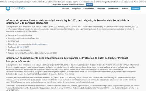 Screenshot of Privacy Page movildata.com - Política de privacidad | Movildata - captured Oct. 21, 2017