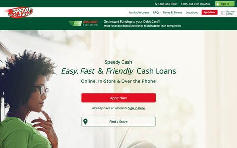 Screenshot of Home Page speedycash.com - Loans from $50 - $26,000   Speedy Cash - captured Dec. 4, 2019