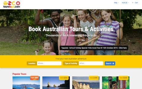 Screenshot of Home Page tourstogo.com.au - Tours To Go | Search, Compare and Book Tours Online - captured Oct. 1, 2015