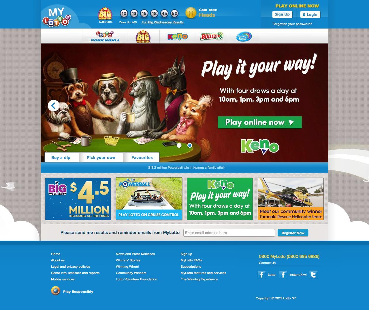 Screenshot of mylotto.co.nz - Official Lotto, Big Wednesday, Bullseye & Keno Results & Tickets | Lotto NZ » MyLotto - captured Sept. 19, 2014