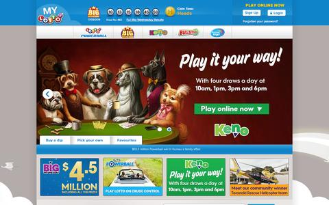 Screenshot of Home Page Login Page mylotto.co.nz - Official Lotto, Big Wednesday, Bullseye & Keno Results & Tickets | Lotto NZ » MyLotto - captured Sept. 19, 2014