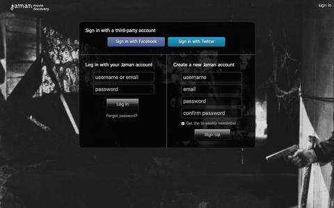 Screenshot of Login Page jaman.com - Sign In - Jaman Movie Discovery - captured Dec. 8, 2015