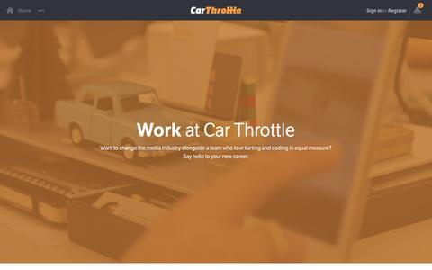 Screenshot of Jobs Page carthrottle.com - Work at Car Throttle - captured Dec. 3, 2015