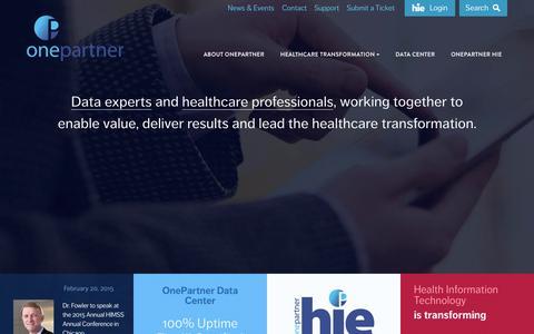 Screenshot of Home Page onepartner.com - OnePartner - North America's first Tier III Certified commercial datacenter - captured Aug. 16, 2015