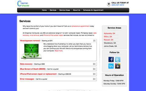 Screenshot of Services Page aaronchapman.com - Services | Chapman Computer - captured Oct. 2, 2014