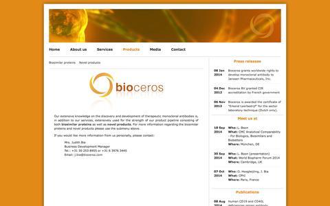 Screenshot of Products Page bioceros.com - Products | Bioceros - captured Sept. 13, 2014