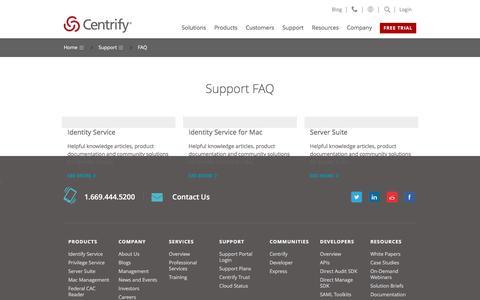 Screenshot of FAQ Page centrify.com - FAQ - captured Feb. 1, 2017