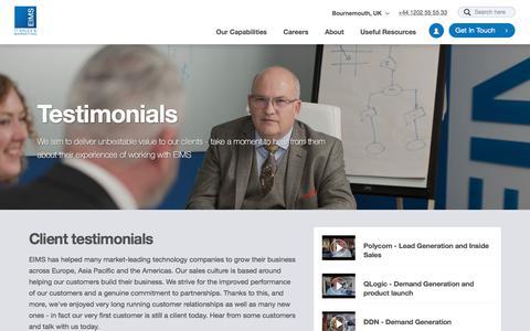 Screenshot of Testimonials Page eims.biz - Testimonials | - captured July 14, 2018