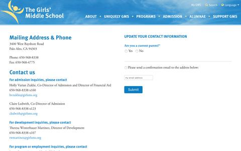 Screenshot of Contact Page girlsms.org - Contact - Girls' Middle School - captured Oct. 22, 2017