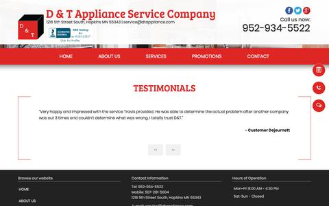 Screenshot of Testimonials Page dtappliance.com - testimonials - D & T Appliance Service Company - Hopkins, MN - captured Oct. 11, 2017