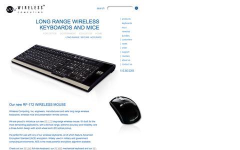 Screenshot of Home Page wireless-computing.com - Long Range Wireless Keyboards - Wireless Keyboards - Wireless Computing, Inc. - captured Oct. 9, 2014