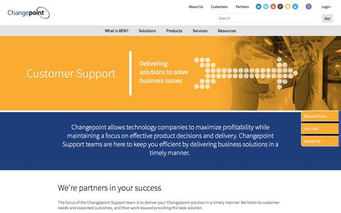Screenshot of Support Page changepoint.com - Customer Support: Here for you | Changepoint - captured July 12, 2016