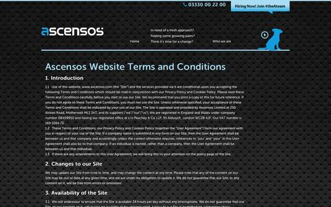 Screenshot of Terms Page ascensos.com - Ascensos | Multi Channel UK Contact Centres | Retail, Ecommerce & More - captured Dec. 26, 2015