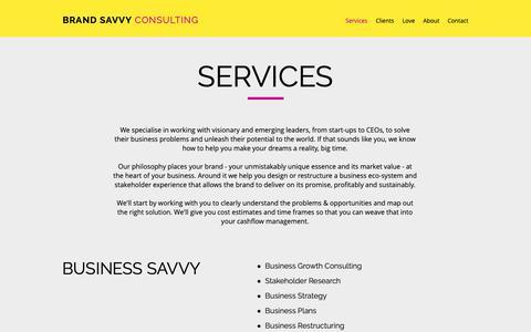 Screenshot of Services Page brandsavvy.com.au - Marketing Services | Brisbane | Brand Savvy Consulting - captured Oct. 6, 2018