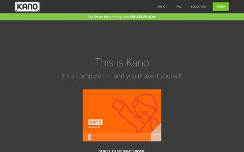 Screenshot of Home Page kano.me - Kano - The Computer anyone can make - captured Oct. 17, 2015