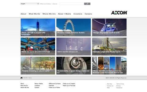 Screenshot of Home Page aecom.com - AECOM - A global provider of architecture, design, engineering, and construction services - captured Oct. 10, 2014