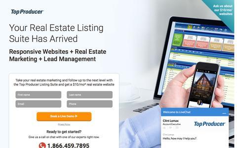 Screenshot of Landing Page topproducer.com - Top Producer® | Real Estate CRM, Personalized Marketing, Lead Management & Websites - captured April 5, 2016