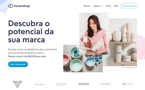 Screenshot of Home Page nuvemshop.com.br - Nuvemshop - Sua marca, sua loja virtual - captured Aug. 15, 2019