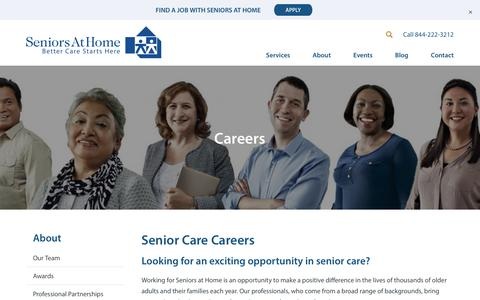 Screenshot of Jobs Page jfcs.org - Senior Care Careers - Caregiver Jobs, Professionals - captured Feb. 19, 2018
