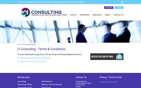 Screenshot of Terms Page j1consulting.co.uk - Terms & Conditions - J1 Consulting - captured Sept. 30, 2017
