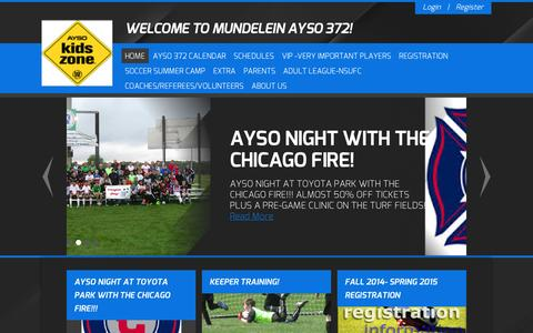 Screenshot of Home Page ayso372.org - AYSO 372 > Home - captured Oct. 4, 2014