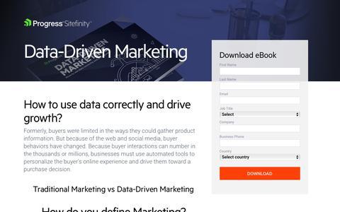 Screenshot of Landing Page progress.com - Data-driven marketing and customer journey optimization eBook - captured July 17, 2019