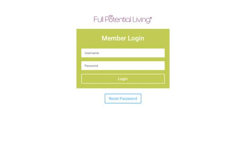 Screenshot of Login Page fplhealth.com - Member Login | Full Potential Living - captured Oct. 14, 2017