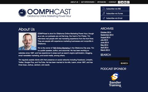 Screenshot of About Page oomphcast.com - About Us «  OOMPHcast – Oklahoma Online Marketing Power Hour - captured Oct. 26, 2014