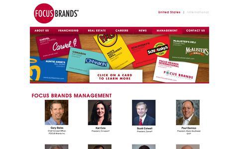 Screenshot of Team Page focusbrands.com - Focus Brands   Management   People Behind The Brand - captured Sept. 23, 2014