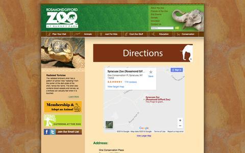 Screenshot of Maps & Directions Page rosamondgiffordzoo.org - Rosamond Gifford Zoo - captured Aug. 19, 2016