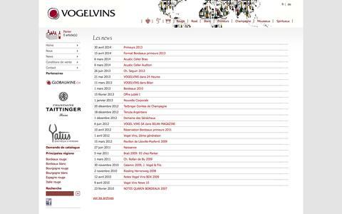 Screenshot of Press Page vogel-vins.ch - Vente bordeaux primeur - Vogel Vins SA - Commerçant de vins en suisse depuis 1993 - captured Oct. 26, 2014