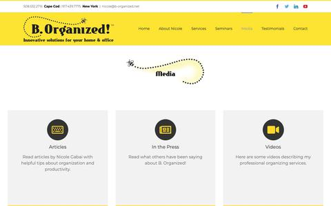Screenshot of Press Page b-organized.net - Media - B. Organized - captured Dec. 7, 2018