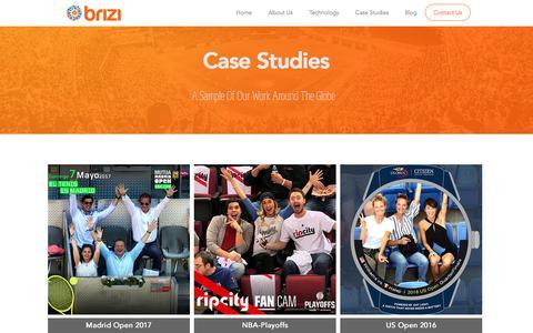 Screenshot of Case Studies Page brizicam.com - Brizi - Sports Fan Engagement Technology - Case Studies - captured July 5, 2017