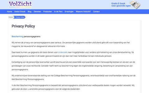 Screenshot of Privacy Page volzicht.nl - Privacy Policy - captured Dec. 19, 2016