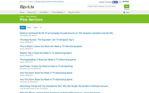 Screenshot of Press Page ispot.tv - Press Mentions for 2014 - iSpot.tv - captured Sept. 16, 2014