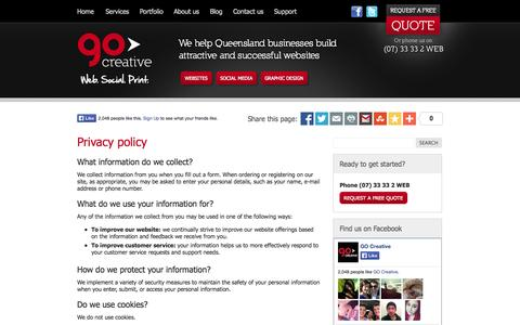 Screenshot of Privacy Page go-creative.com.au - Privacy policy - GO Creative - Brisbane web design, mobile websites, search engine optimisation, social media and design - captured Sept. 27, 2014