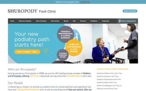 Screenshot of Jobs Page shuropody.com - Careers at Shuropody - Shuropody Clinic - captured July 13, 2018