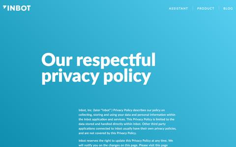 Screenshot of Privacy Page inbot.io - Our respectful Privacy Policy - Inbot - captured April 16, 2016