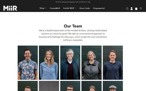 Screenshot of Team Page miir.com - Our Team | MiiR - captured Oct. 19, 2018