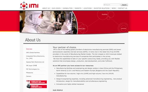 Screenshot of About Page global-imi.com - About IMI Overview | IMI - captured Oct. 6, 2014