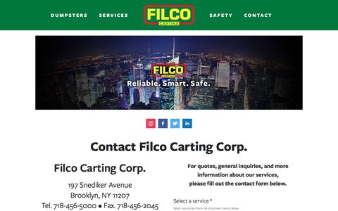 Screenshot of Contact Page filcocarting.com - CONTACT — Filco Carting Waste Collection Solutions - captured Jan. 8, 2020
