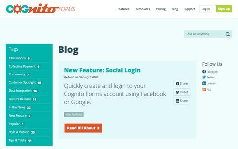 Screenshot of Blog cognitoforms.com - Cognito Forms Blog - Cognito Forms - Easily Build Powerful Forms - captured Feb. 11, 2020